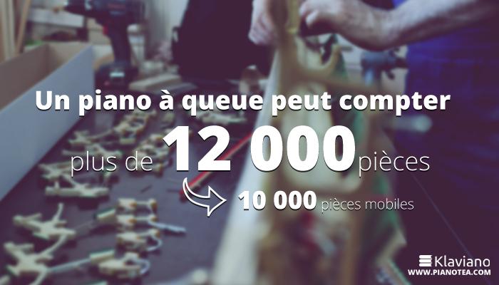 Un piano à queue peut compter plus de 12 000 pièces. 10 000 pièces mobiles.