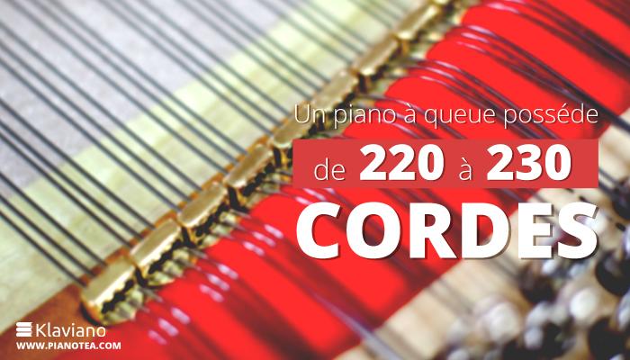 Un piano à queue posséde de 220 à 230 cordes.