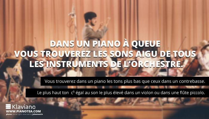 Dans un piano à queue vous trouverez les sons aigu de tous les instruments de l'orchestre. Vous trouverez dans un piano les tons plus bas que ceux dans un contrebasse. Le plus haut ton c5 est égal au son le plus élevé dans un violon ou dans une flûte piccolo