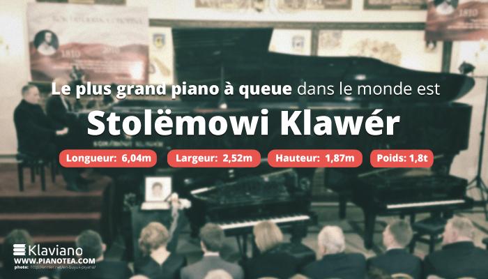 Le plus grand piano à queue dans le monde est Stolëmowi Klawér. Longueur: 6,04m Largeur: 2,52m hauteur: 1,87m poids:1,8 tonnes.