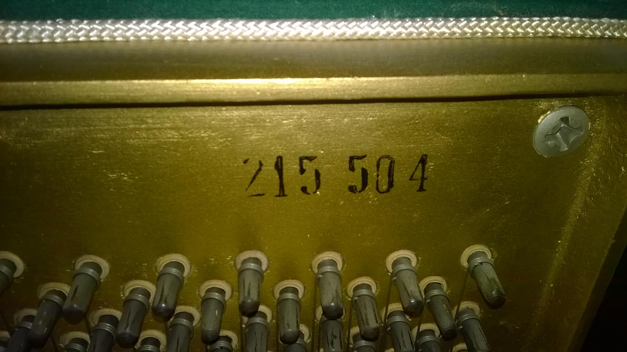 Numer seryjny na ramie żeliwnej w pianinie