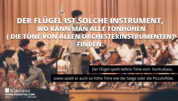 Der Flügel ist solche Instrument, wo kann man alle Tonhöhen( die Töne von allen Orchesterinstrumenten) finden.