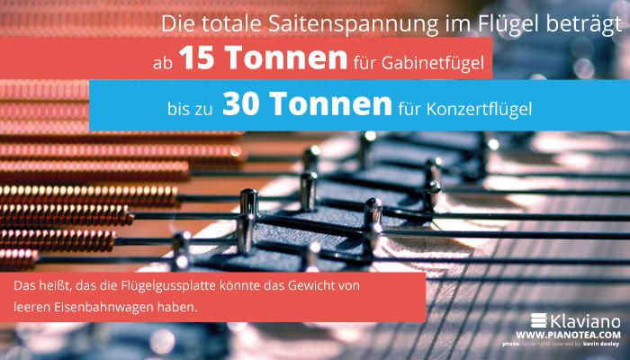 Die totale Saitenspannung im Flügel beträgt ab 15 Tonnen – für Gabinetfügel,bis zu 30 Tonnen – für Konzertflügel.